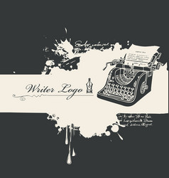 Banner on a writers theme with old print machine vector
