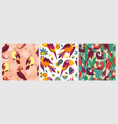 birds in jungle pattern seamless exotic creative vector image