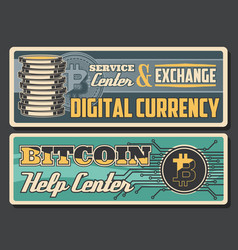 Bitcoins digital money or cryptocurrency exchange vector