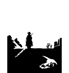 Black and white cowboy riding a horse in the vector image