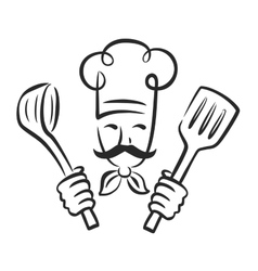 black chef vector image