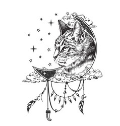 Boho cat tattoo or t-shirt print design vector