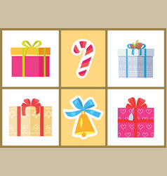 box decorated by ribbon sweet candy package cones vector image