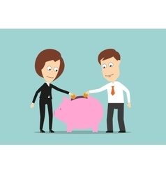 Business team putting money in piggy bank vector image