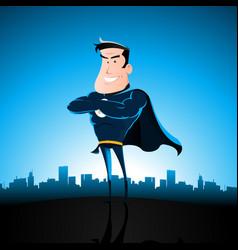 Cartoon blue superhero vector