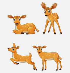 cartoon funny deer collection set vector image