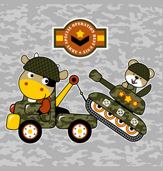 cartoon military truck towing an armored vector image