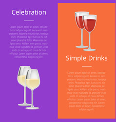 Celebration simple drink poster rd and white wine vector