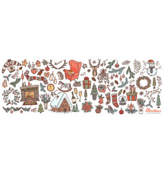christmas and happy new year linear doodle set vector image