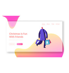 Christmas and new year shopping website landing vector