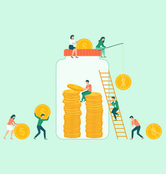 coins in jar attraction capital save vector image