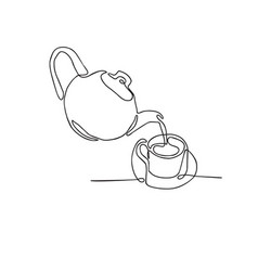 Continuous line drawing of tea pot and tea cup on vector