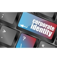 Corporate identity button on computer keyboard key vector