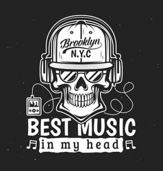 death t-shirt print skull listening to music vector image