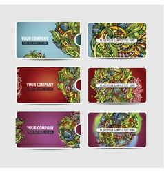 Decorative ornamental ethnic cards vector