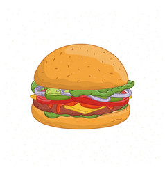 delicious burger isolated on white background vector image