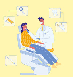 Dentist and patient in clinic vector