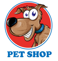 Dog pet shop mascot logo isolated on white vector