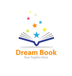 dream star book logo designs vector image