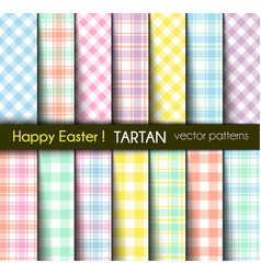 Easter colors tartan and gingham plaid patterns vector