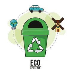 Eco lifestyle recycle trash can energy transport vector