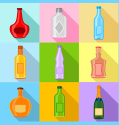 Empty bottles icons set flat style vector