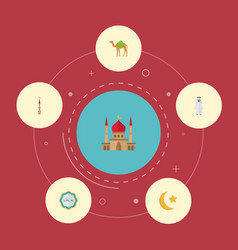 Flat icons dromedary minaret decorative and vector