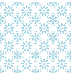 Floral seamless pattern blue and white ornament vector