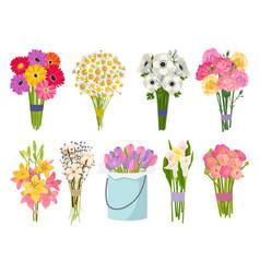 Flowers brunch bouquet set collection flat floral vector