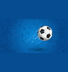 flying soccer ball on blue background vector image