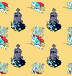 flying witch and cemetery tombs seamless pattern vector image