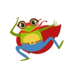 Frog Animal Dressed As Superhero With A Cape Comic vector