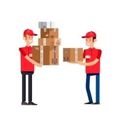 Funny pizza delivery boy vector