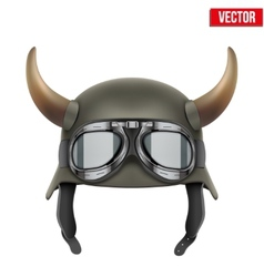 German Army helmet with horns and protective vector image