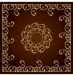 Gold frame with vintage floral elements vector image