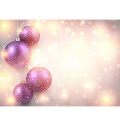 Golden background with purple christmas balls vector image