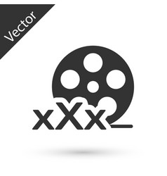 Grey film reel with inscription xxx icon isolated vector
