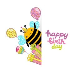 Happy Birthday card background with a bee vector image