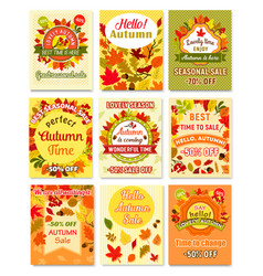 Hello autumn and fall sale retro poster set vector