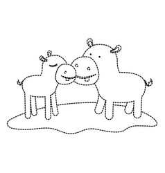 Hippopotamus couple over grass in black dotted vector