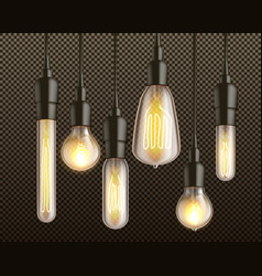 incandescent light bulbs realistic set vector image