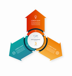 infographic circle with 3 arrows vector image