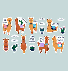 lama stickers cute cartoon alpaca emblems for vector image