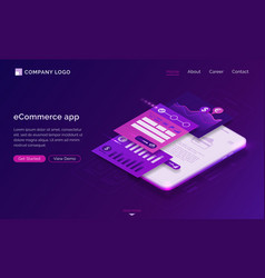 landing page ecommerce app mobile payment vector image