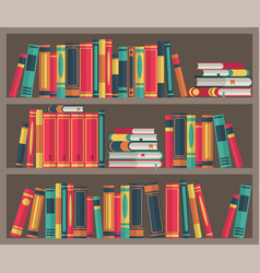 library room book stacks in bookcase various vector image