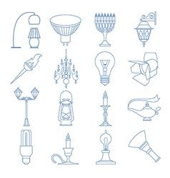 Lighting elements icon set Thin line design vector