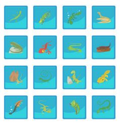 Lizard type animals icon blue app vector