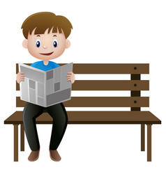 man reading newspaper on the bench vector image