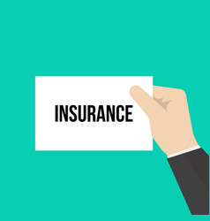 man showing paper insurance text vector image