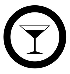 martini glass icon black color in circle or round vector image